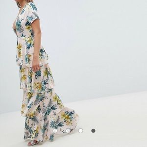 Plunge- Tiered Maxi dress